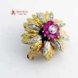 Ornate Flower Brooch High Relief Design Rubies Diamonds 18 K Gold