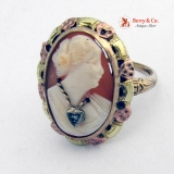 Antique Shell Cameo Ring Rose and Green Gold