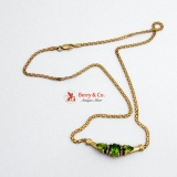 Peridot Necklace 14 K Gold Diamond Accents