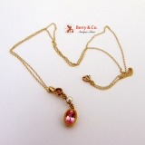 Vintage Pink Sapphire Pendant Necklace 10 K Gold Pearl Diamonds