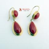 Vintage Coral Dangle Earrings 14 K Gold 585