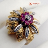 Vintage Dazzling Ring 18 K Gold Rubies Diamonds