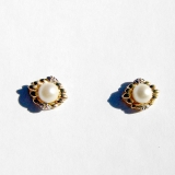 Stud Pearl Earrings Diamond Accents 14 K Gold
