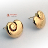 Shell Form Stud Earrings 14 K Gold Moskowitz