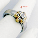 Diamond Ring Band 14 K White Yellow Gold