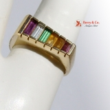 Multi Colored Gem Ring 14 K Gold Amethyst Citrine White Sapphire
