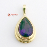 Tear Drop Pendant High Quality Amethyst 14 K Gold