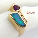 Custom Made Designer Ring Amethyst Black Opal Triplet Diamonds
