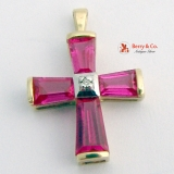 Raspberry Cross Pendant Synthetic Ruby 19 K Yellow Gold Diamond Accent