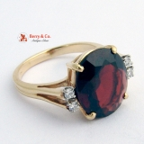 Burgundy Garnet Ring Diamonds 14 K Yellow Gold