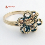 Ornate Circle Design Ring 14 K Gold Diamond Accent