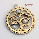 Tree Of Life Round Pendant Pearls 14 K Gold
