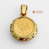 Vintage Gold Coin Pendant Dos Pesos 1945 14 K Yellow Gold Bezel