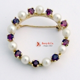 Round Pearl and Ruby Brooch 14 K Gold