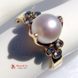 Vintage Pearl Ring Diamonds 18 K Gold