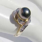 Tahitian Pearl Ring 14 K Yellow Gold Diamonds
