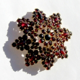 Vintage Bohemian Red Garnet 14 K Gold Star Burst Brooch Pin Victorian Vintage jewelry