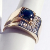 Vintage Black Star Sapphire Ring 14 K Gold Diamonds