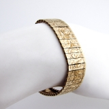 Vintage Rose and Scroll Engraved Bracelet 14 K Yellow Gold