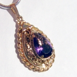 Tear Drop Amethyst Pendant Locket 14 K Gold