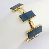 Art Deco Rectangular Link Bracelet 9 Ct Gold Lapis