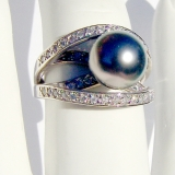 Tahitian Pearl Ring 14 K White Gold Diamonds