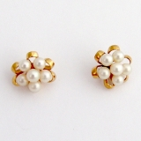 Vintage Pearl Stud Earrings 14 K Gold