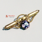 Antique Victorian 9K Gold Amethyst Seed Pearls Bar Brooch Pin
