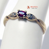 Tiny 14K Gold Ruby Diamond Ring