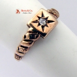 Antique Victorian Tiny Gem Accent 10K Gold Starburst Baby Ring