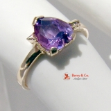 Heart Cut Amethyst 14K Gold Arrow Ring
