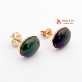 Jade Nephrite 14K Gold Post Stud Earrings