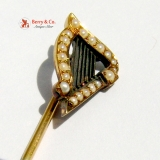 Antique Victorian Seed Pearl 14K Yellow Gold Harp Decorated Gentlemans Stick Pin