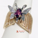 Bold Butterfly Ring With Barred Body White And Yellow 14K Gold Pink Tourmaline Diamond Accents