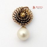 14K Gold Filigree Flower Pendant With Cultured Pearl Dangle