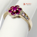 Floral Patterned 14K Gold Ruby Ring Diamond Accents