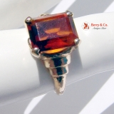 Retro Dark Redish Orange Garnet 14K Gold Stepped Shoulders Ring 1946