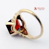 Retro Dark Redish Orange Garnet 14K Gold Stepped Shoulders Ring 1946