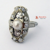 Art Deco Pearl Diamond 18K White Gold Long Ring