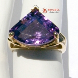 Fancy Trillion Amethyst 14K Gold Ring
