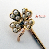 Lucky Charm 14K Gold Four Leaf Clover Stick Pin Seed Pearls