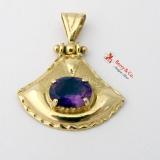 Wavy Rimmed Amethyst 14K Gold Pendant