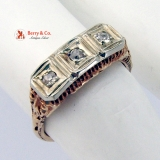 Art Deco 3 Diamond Rose Gold Ring
