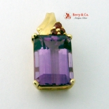Retro Style Amethyst Synthetic Rubies 14K Gold Pendant