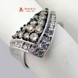 Elegant White Gold Champagne Diamonds Cocktail Ring