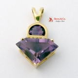 Fancy Cut Amethyst And Diamond 14K Gold Pendant