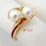 Twin Pink Cultured Pearl Diamond Accented 14K Gold Ring