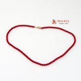 Treated Red Coral Beaded Strand Necklace 14K Gold Clasp