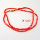 Pink Coral Beaded Necklace 14K Gold Barrel Clasp