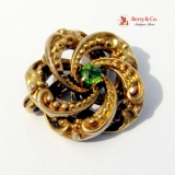 Victorian Beaded Spiral 14K Gold Peridot Round Brooch Pin